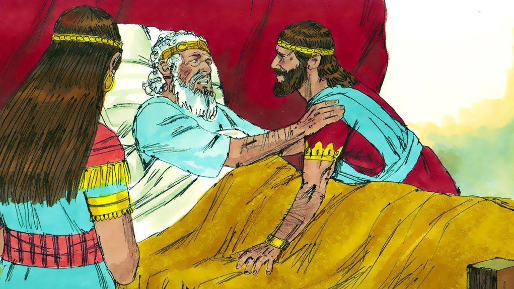 Da kong David dør, bliver hans søn Salomo den næste konge.