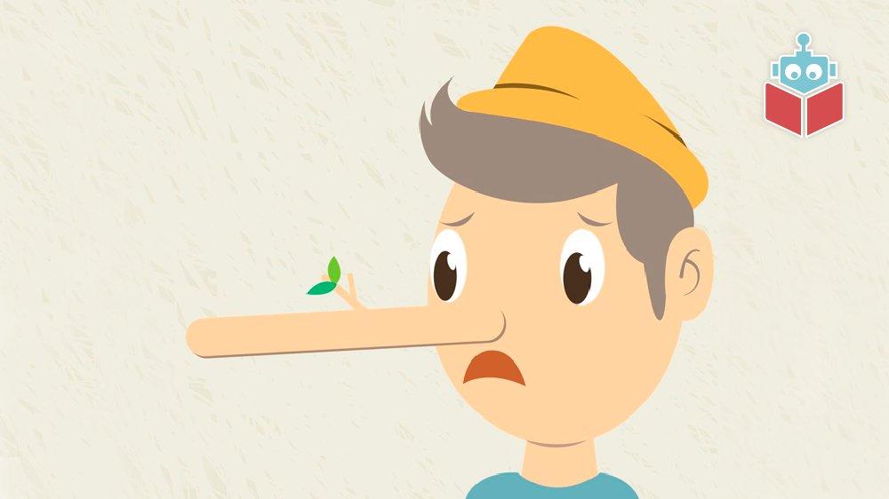 Pinocchios næse vokser, når han lyver.