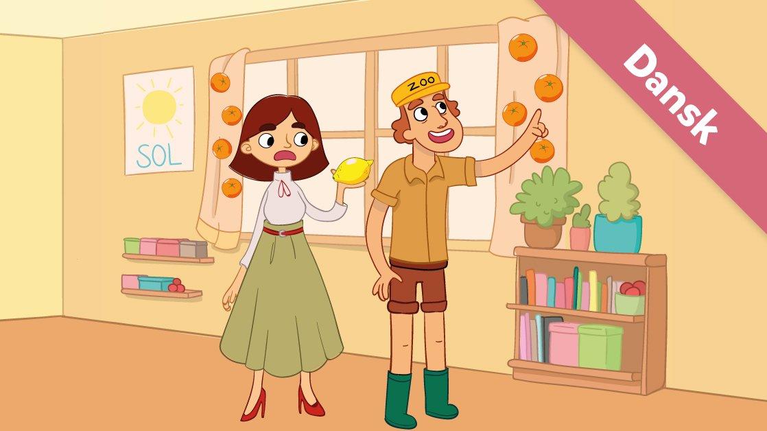 Oppe i gardinerne hænger appelsinerne.