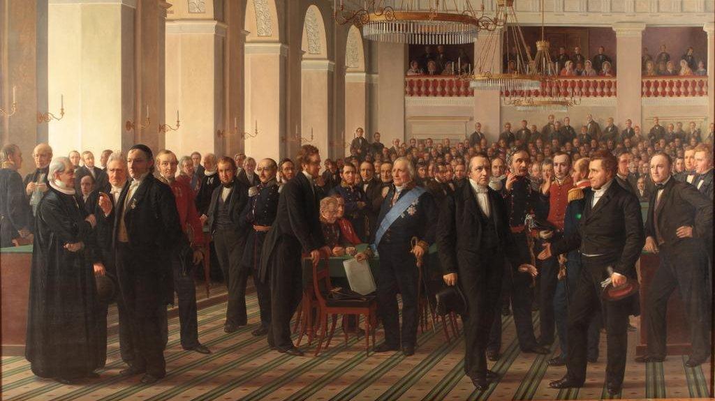 Danmark fik sin første grundlov 5. juni 1849. Her ses maleriet