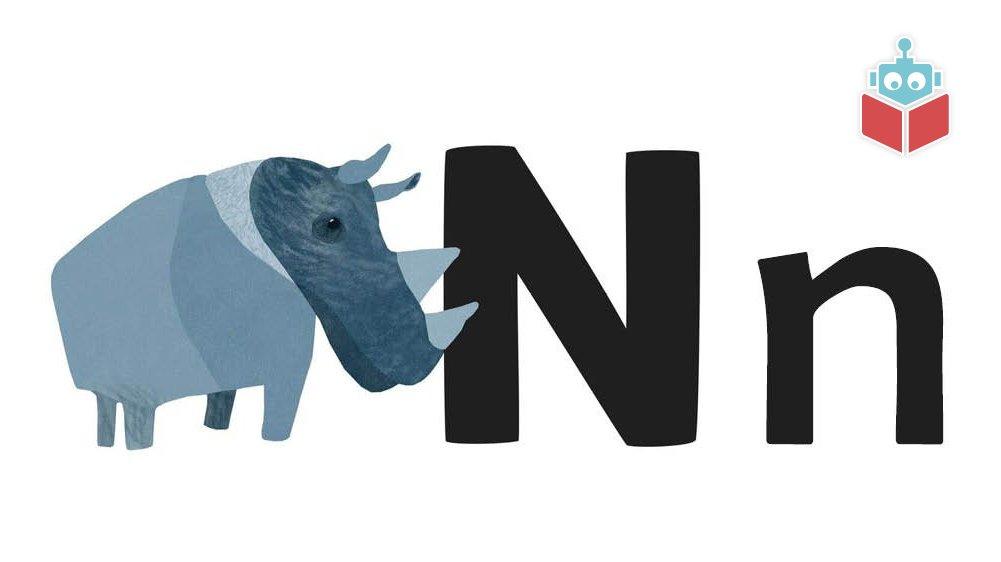 """Ordet """"næsehorn"""" starter med n."""