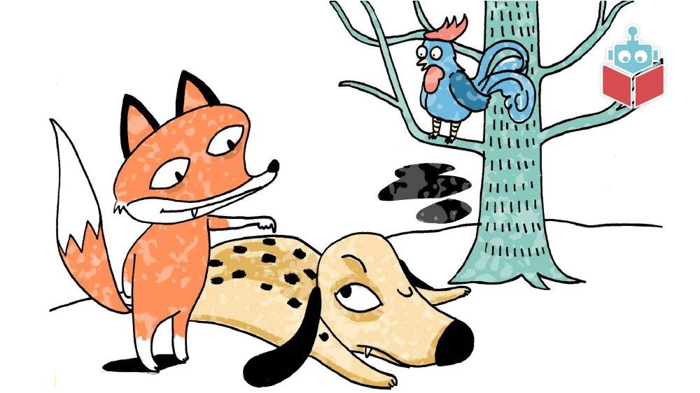 I fablen møder du både en hund, en hane og en ræv.