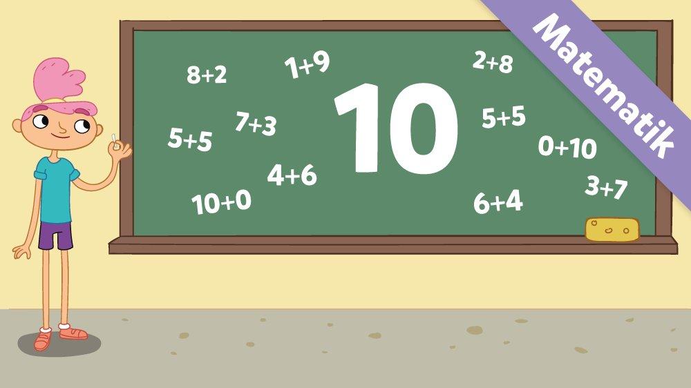 Ea har skrevet 10 og alle 10'er-vennerne på tavlen.