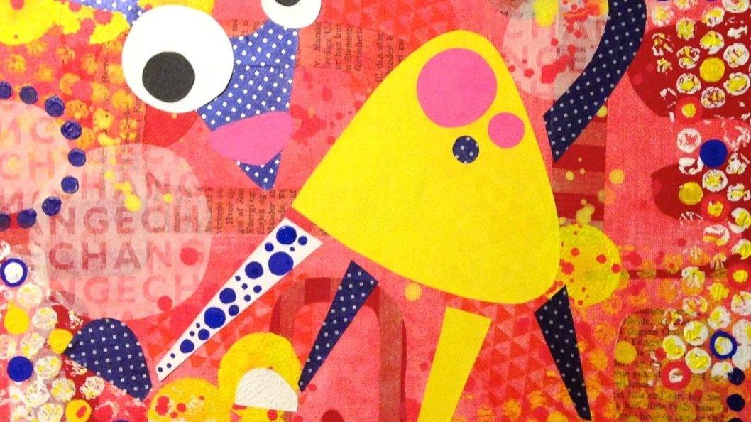 Billedcollage, hvor farverne skaber komposition i billedet.