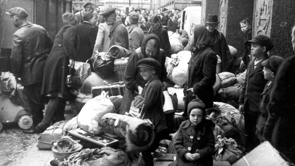 Tyske flygtninge ankommer til Danmark i 1945.