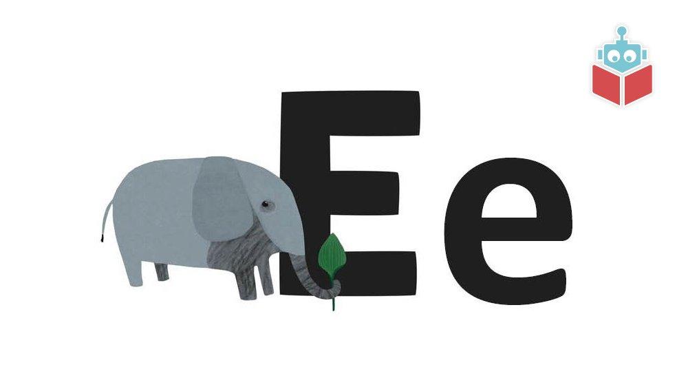 """Ordet """"elefant"""" starter med e."""