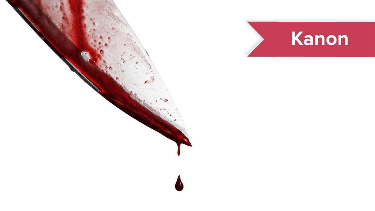 En bloddryppende kniv og