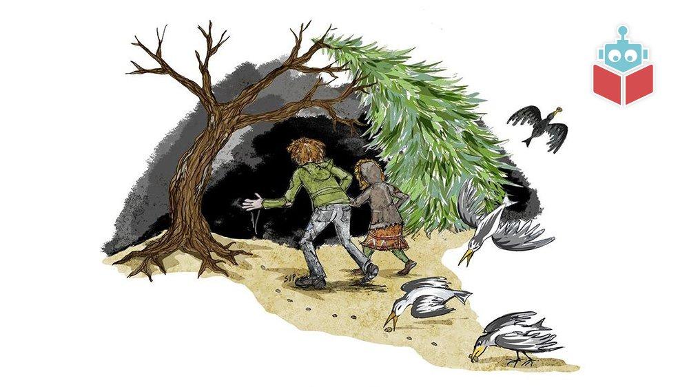 Hans og Grete bliver sendt ud i den mørke skov.