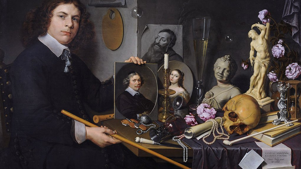 Stilleben med vanitassymboler. Billedet er malet i 1651.
