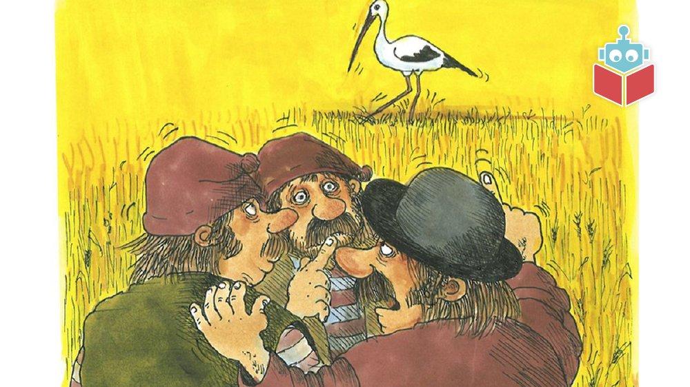 Molboerne ser en stork på marken.
