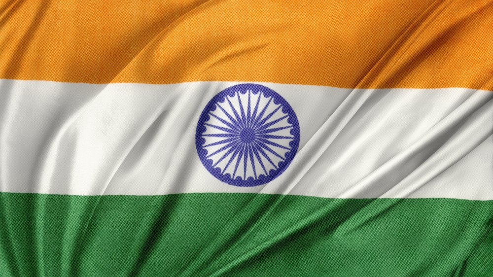 The Indian Flag with the Ashoka Chakra, a 24-spoke wheel, at its centre.