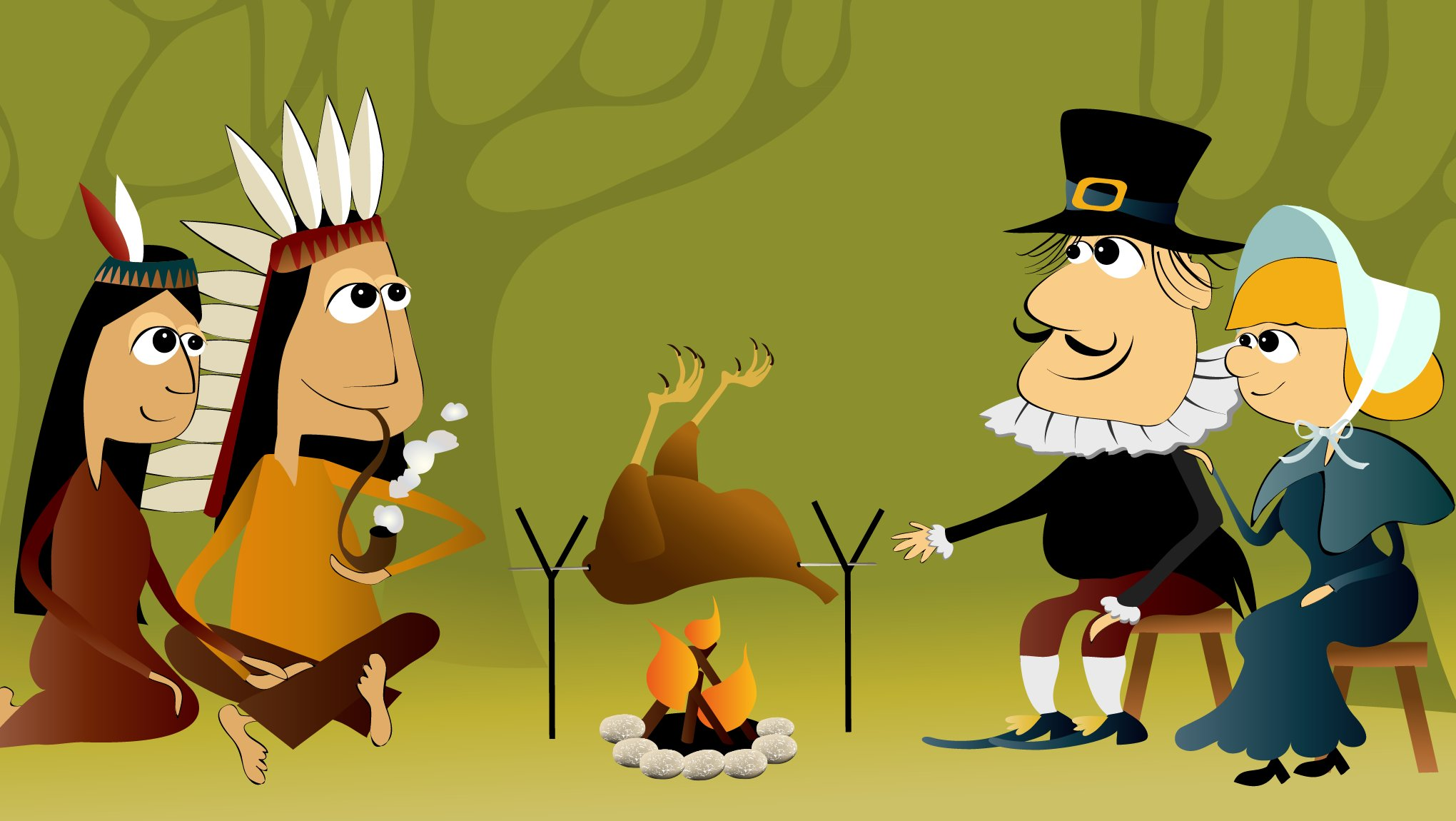 Thanksgiving is a celebration of friendship between Native Americans and the Pilgrims who came to America from Europe.