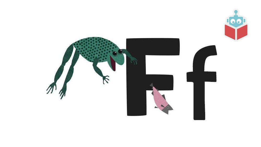 """Ordene """"fisk"""" og """"frø"""" starter med f."""