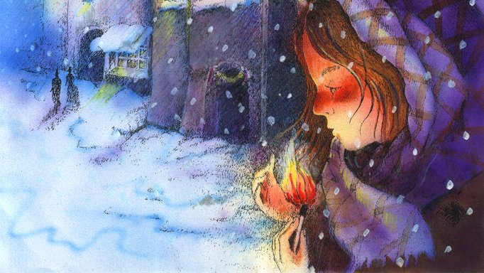 The little match girl can see the spirit of Christmas when she looks into the flame of the matchstick.