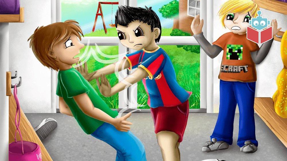 I historien bliver Lukas vred og skubber til sin bedste ven.