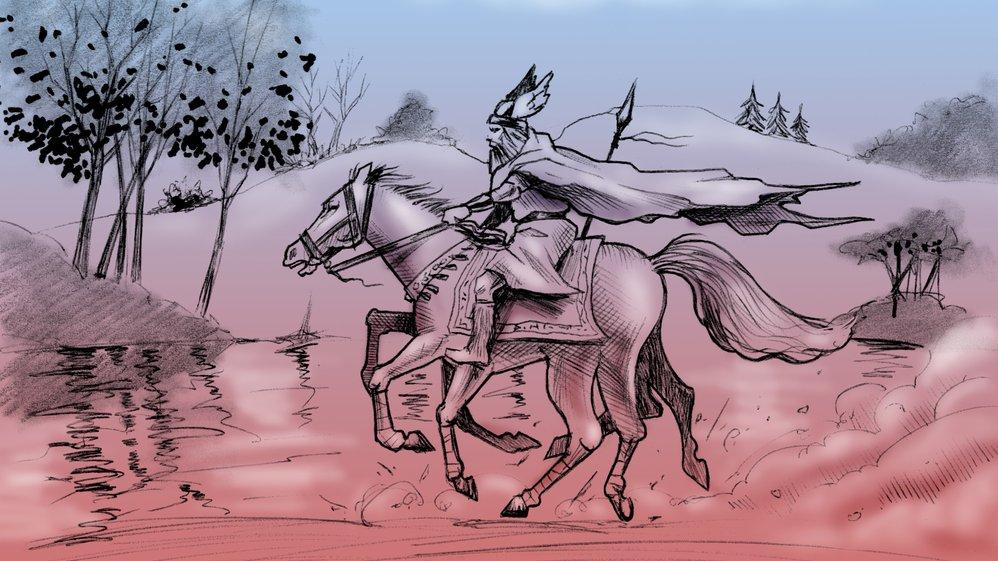 I dette forløb skal I læse nogle af de gamle fortællinger om de nordiske guder. I skal blandt andet læse om Odin og hans ottebenede hest Slejpner, som ses på billedet.