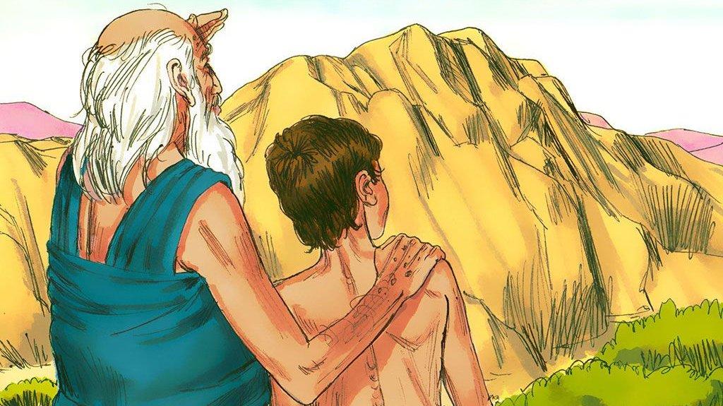 Abraham med sin søn Isak. Isak får senere en søn, der hedder Jakob.