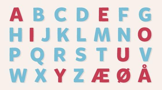 Det danske alfabet har 29 bogstaver.