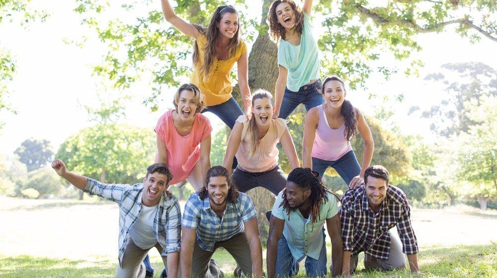 Menneskepyramider er flotte og giver gode muligheder for at samarbejde.