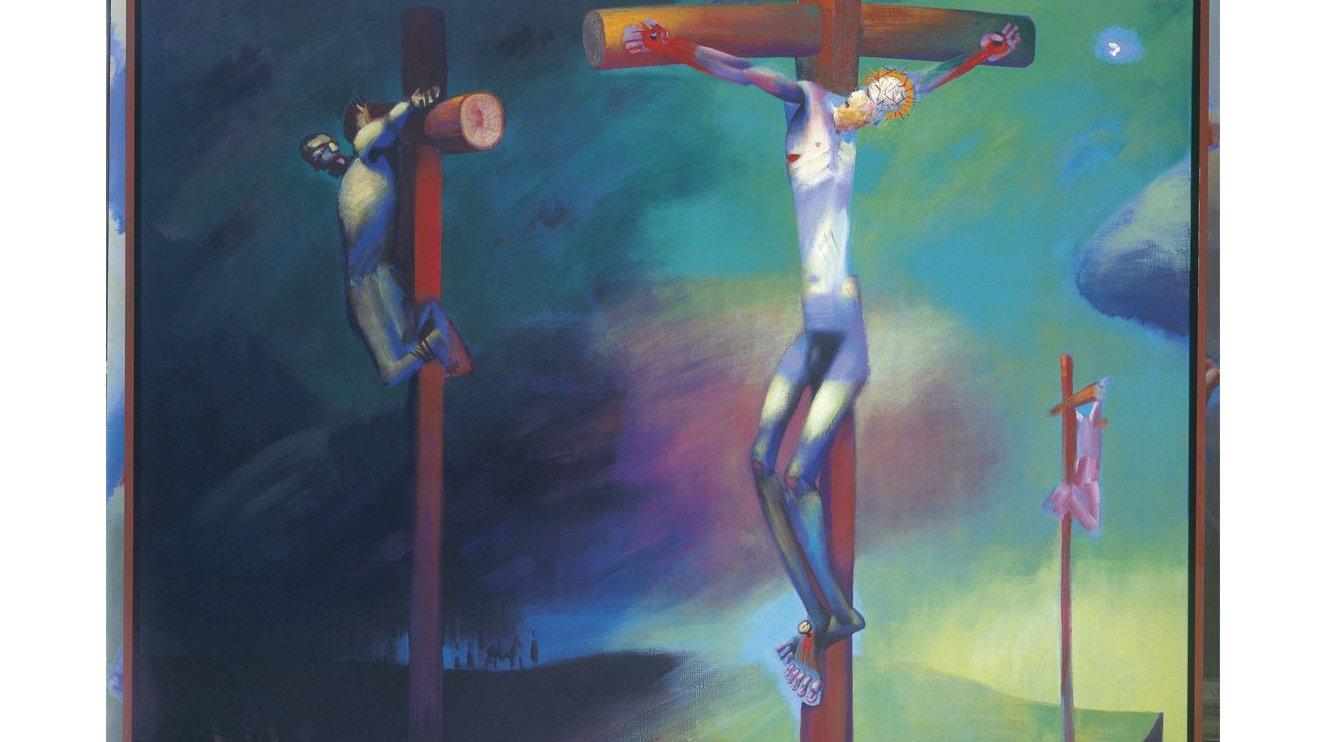 Jesus døde, da han blev korsfæstet på den dag, der kaldes for Langfredag. Dette billede hedder