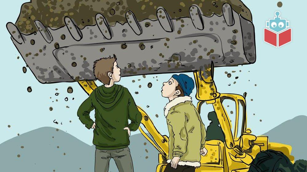 Kaj og Jørgen ser på de store maskiner.
