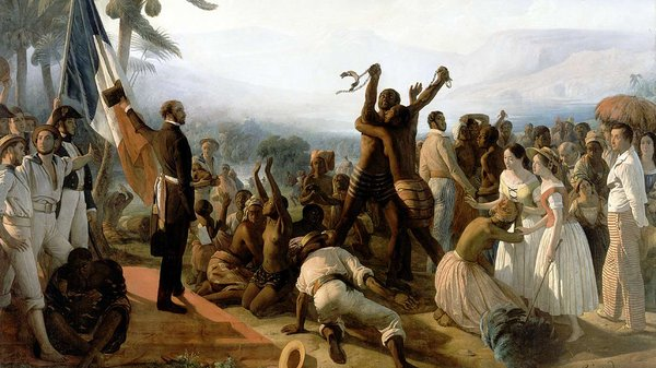 Et maleri i romantisk stil viser frigørelsen af slaver i en fransk koloni.