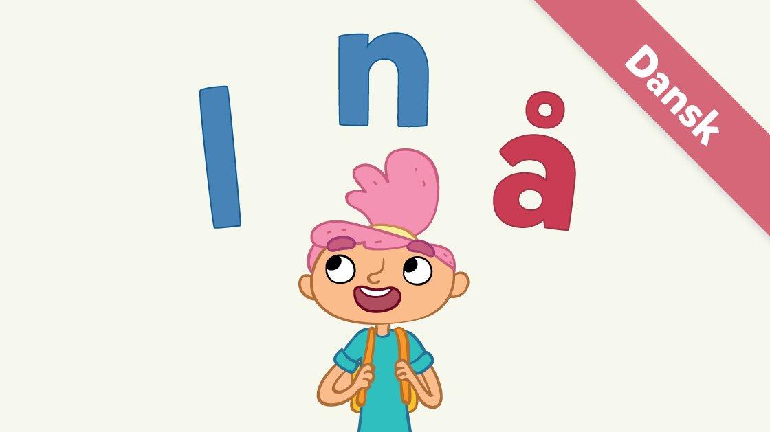 Her er Ea med bogstaverne l, n og å