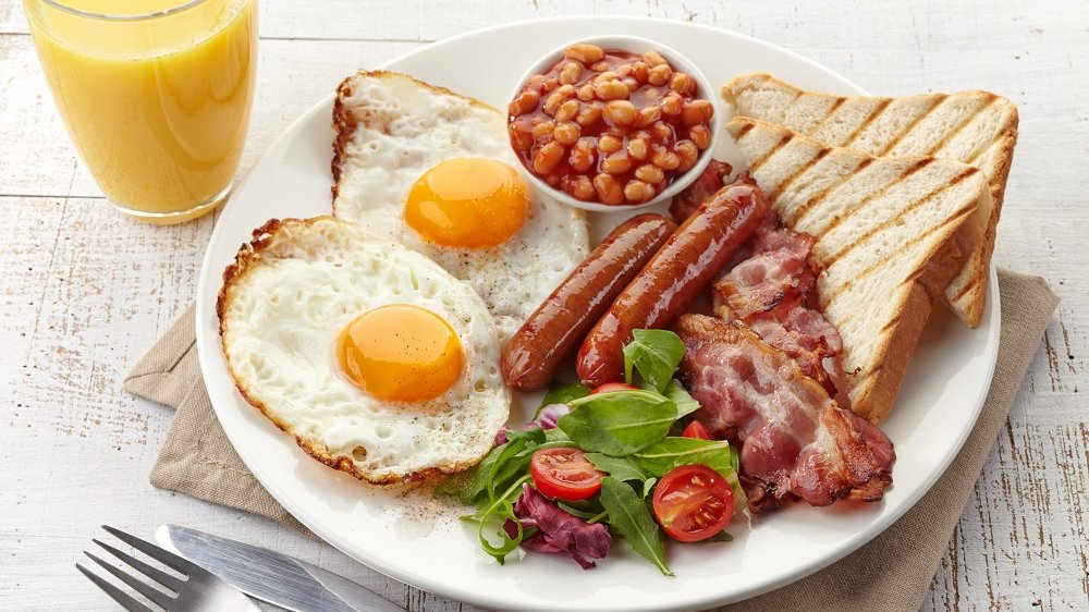 Example of a full English breakfast.