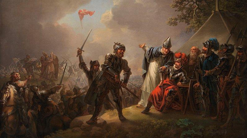En meget udbredt myte i dansk historie er myten om vores flag, Dannebrog, som ifølge traditionen skulle være faldet ned fra himlen under Valdemar 2. Sejrs korstog til Estland i 1219