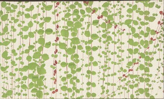 """Skitse til tapetet """"Pletter i luften"""" malet i akvarel af arkitekten Arne Jacobsen."""