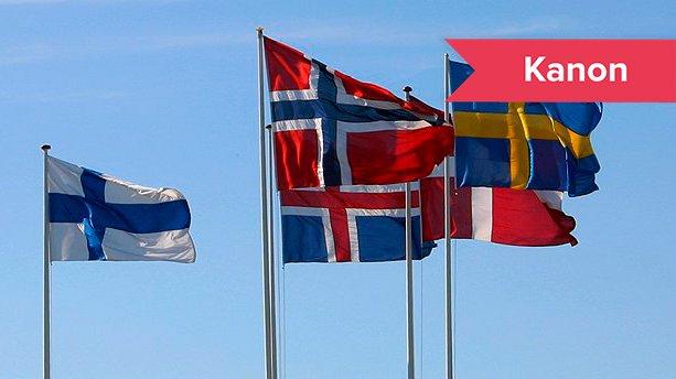 Nogle af de nordiske landes flag. Norden består af landene Danmark, Norge, Sverige, Finland, Island samt Færøerne, Grønland og Åland. Men hvad er det, der binder os sammen i Norden?