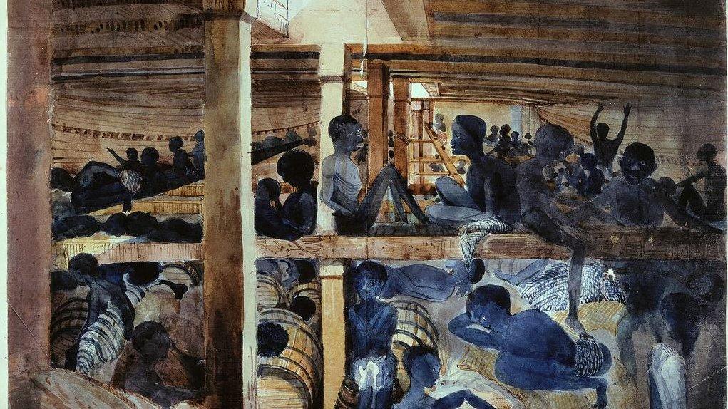 Slaveskibe sejlede slaver fra Afrika til Caribien, hvor de skulle arbejde for de rige, hvide mennesker.