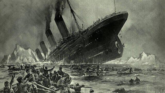 Illustration of the Titanic sinking.