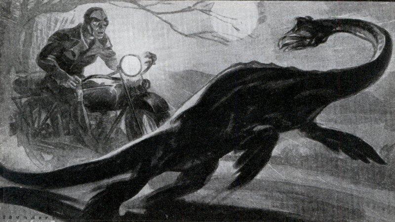 I 1934 påstod Arthur Grant, at han så Loch Ness-uhyret, da han kørte på sin motorcykel. Tegningen fra samme år viser, hvordan det kan have set ud.